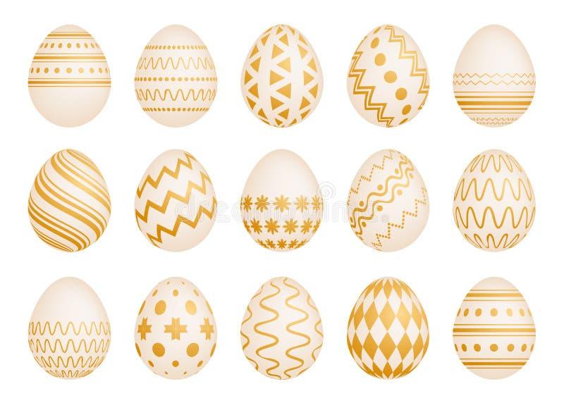 Ställ in av femton påskägg med guld- textur vektor illustrationer