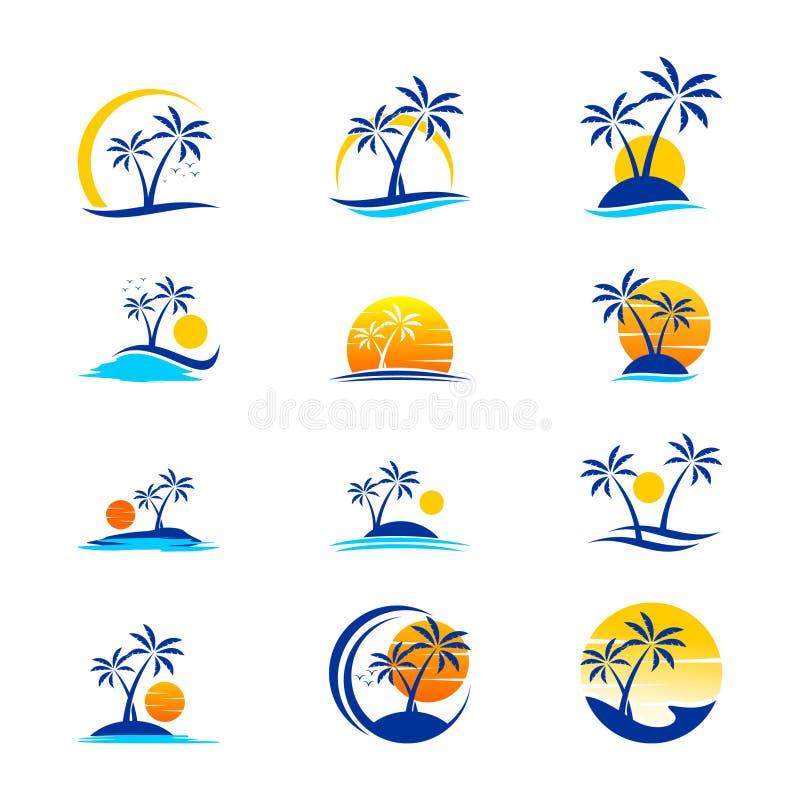 Ställ in av ferie och loppet Logo Design royaltyfri illustrationer