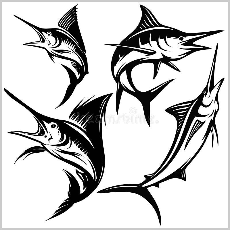 Ställ in av fisk för blå marlin för vektor vektor illustrationer