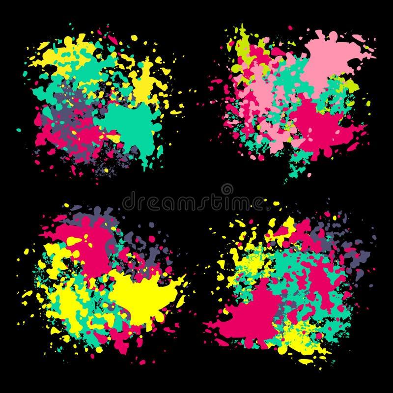 Ställ in av fläckar för färgfärgpulvermålarfärg stock illustrationer