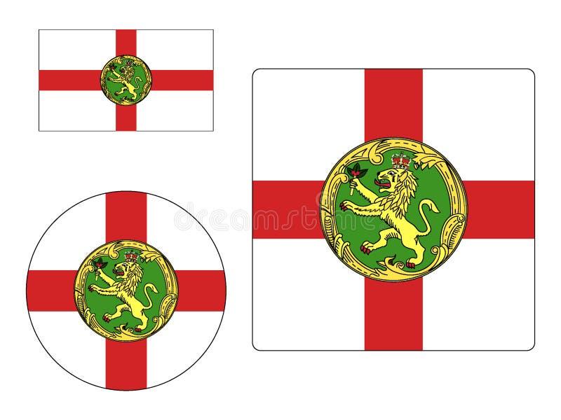Ställ in av flaggor av Alderney royaltyfria bilder