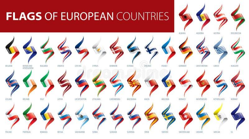 Ställ in av flaggor av Europa ocks? vektor f?r coreldrawillustration arkivfoton
