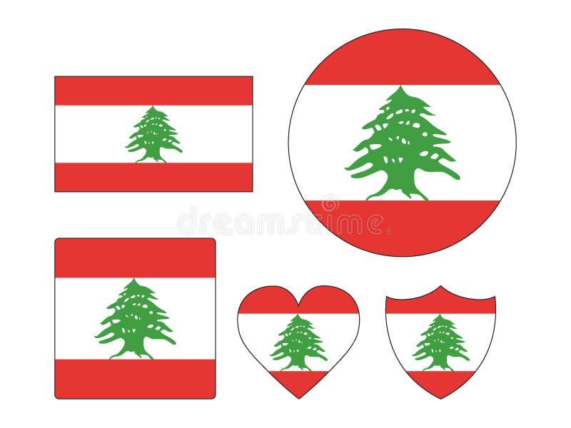 Ställ in av flaggor av Libanon vektor illustrationer