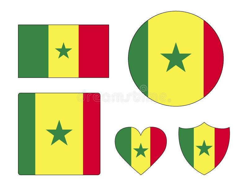 Ställ in av flaggor av Senegal stock illustrationer
