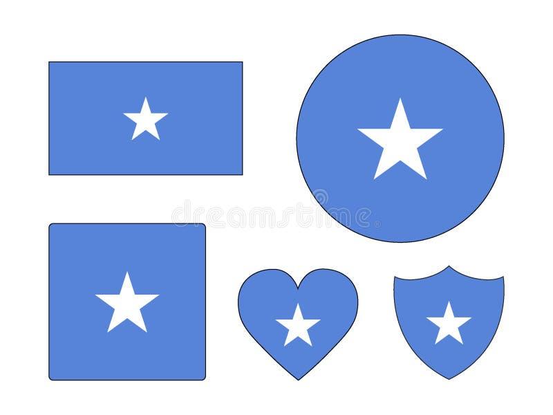 Ställ in av flaggor av Somalia royaltyfri illustrationer