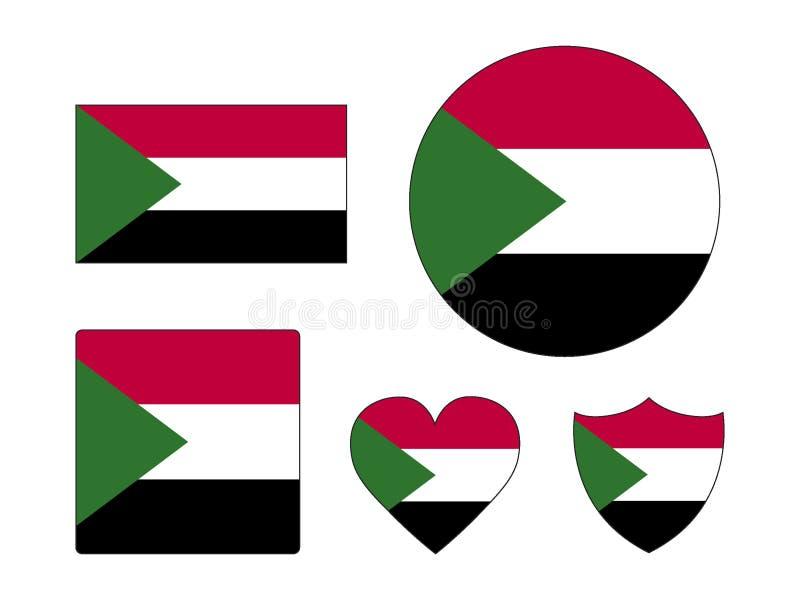 Ställ in av flaggor av Sudan royaltyfri illustrationer