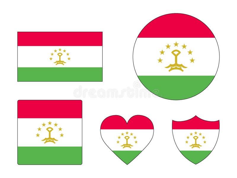 Ställ in av flaggor av Tadzjikistan stock illustrationer
