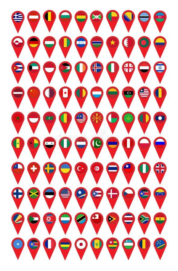 Ställ in av 100 flaggor av världen på en pekare vektor illustrationer