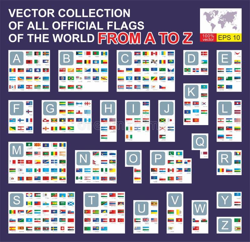Ställ in av 297 flaggor av världssuveräna staterna med namn i alfabetisk ordning från A till Z ocks? vektor f?r coreldrawillustra royaltyfri illustrationer