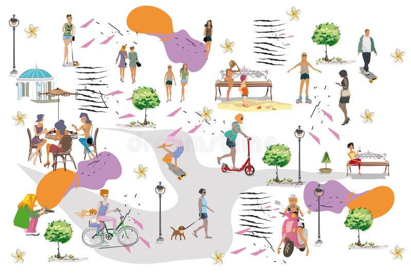 Ställ in av folk som har, vilar i parkerar Utomhus- aktiviteter för fritid: skateboarden åker rullskridskor och att rida en spark stock illustrationer