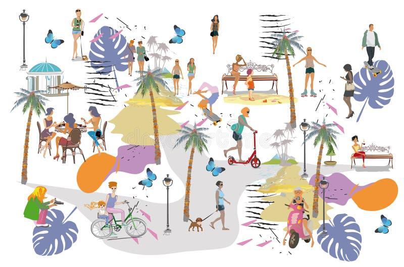 Ställ in av folk som har, vilar i parkerar Utomhus- aktiviteter för fritid: skateboarden åker rullskridskor och att rida en spark vektor illustrationer