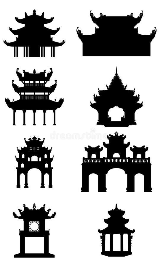 Ställ in av forntida buddistiska tempel 1 del silhouettes sportvektorn stock illustrationer