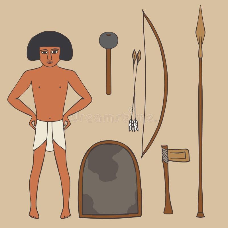 Ställ in av forntida egyptiska vapen royaltyfri illustrationer