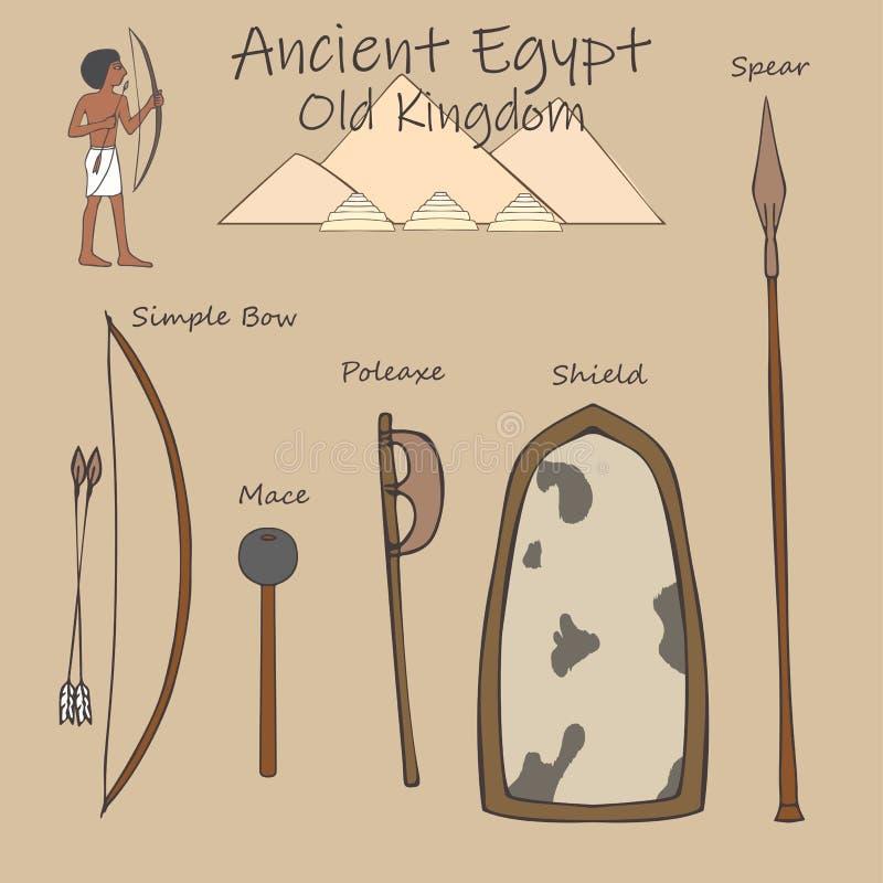 Ställ in av forntida egyptiska vapen, det gamla kungariket, tecknad film royaltyfri illustrationer