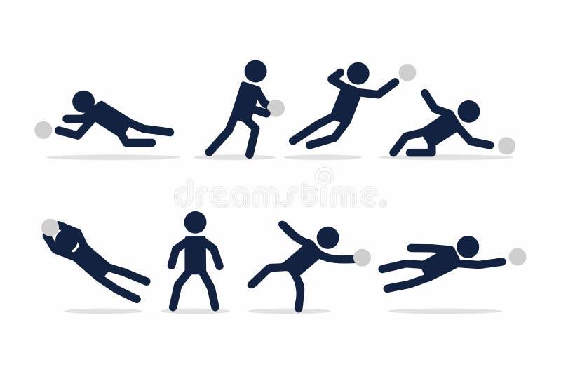 Ställ in av fotboll, eller fotbollspelaren, målvakthandlingar poserar pinnediagramet vektor illustrationer