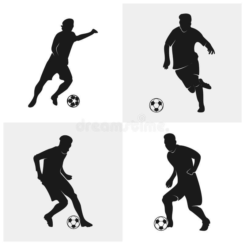 Ställ in av fotbollsspelarevektor Kontur av fotbollsspelaren ocks? vektor f?r coreldrawillustration stock illustrationer