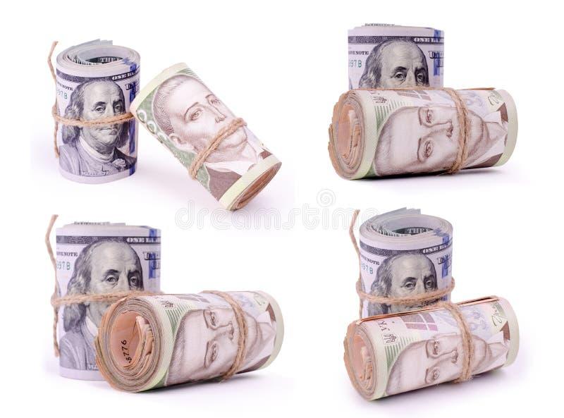 Ställ in av foto av rör av Förenta staternadollar och ukrainska Hryvnia UAH sedlar arkivfoton