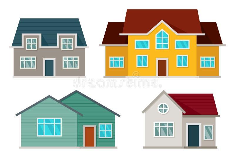 Ställ in av främre sikt för hus stock illustrationer