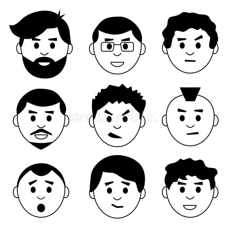Ställ in av framsidaman, tecken med olik sinnesrörelse, avatarsymboler, svartvit design vektor vektor illustrationer