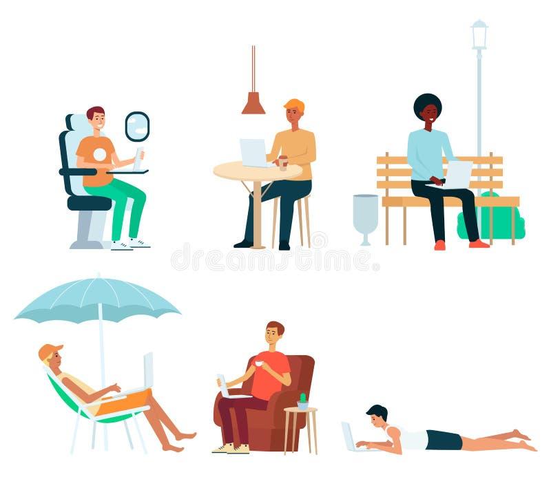 Ställ in av freelancers med bärbara datorn i olik stil för tecknad film för arbetsställen royaltyfri illustrationer
