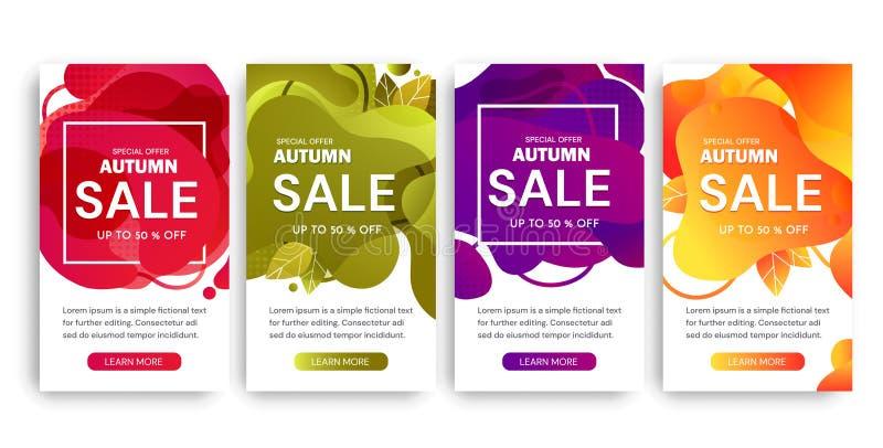Ställ in av fyra Autumn Sale affischdesigner i olika färger som upp till erbjuder 50 procent rabatt och speciala erbjudanden över royaltyfri illustrationer