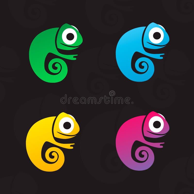 Ställ in av fyra färgrika kameleonter för vektor Vektorlogo f?r barnklubba vektor illustrationer