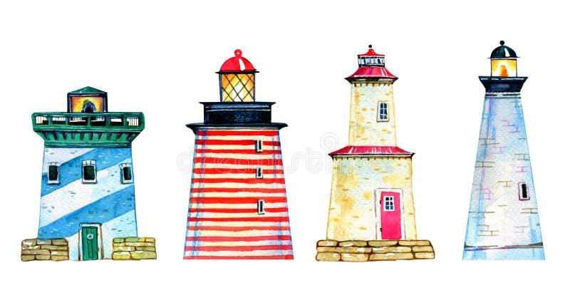 Ställ in av fyra färgrika tecknad filmfyrar Hand dragen vattenfärgillustration vektor illustrationer