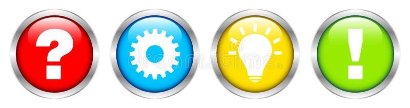 Ställ in av fyra försilvrar knappar ifrågasätter arbetsidé- och svarsfärg stock illustrationer