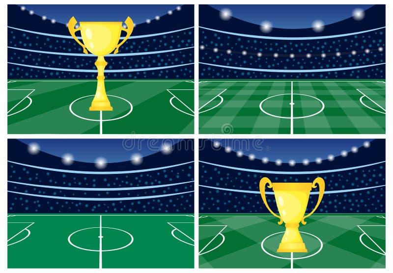 Ställ in av fyra fotbollsarenor med en guld- kopp på grönt gräs vektor illustrationer