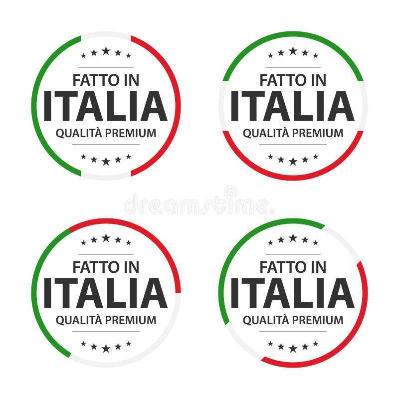 Ställ in av fyra italienska symboler, den italienska titeln som göras i Italien, högvärdiga kvalitets- klistermärkear och symbole royaltyfri illustrationer
