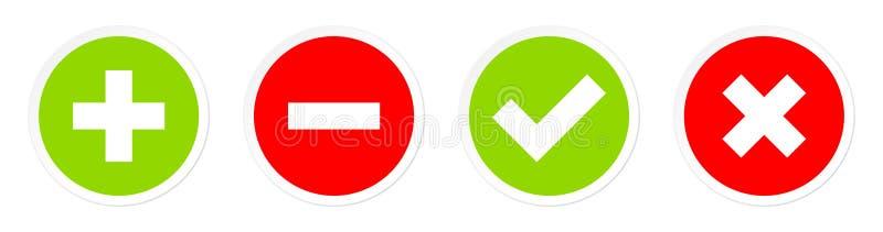 Ställ in av fyra knappar plus negativ och gröna Checkmarks som är röda och stock illustrationer
