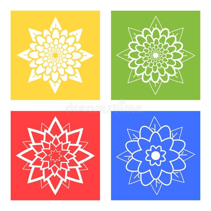 Ställ in av fyra konturer av blommor blått, grönt, gult, rött stock illustrationer