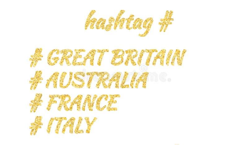 Ställ in av fyra länder som märker i en guld- sandstil: Storbritannien Australien, Frankrike, Italien Isolerat på vit royaltyfri illustrationer