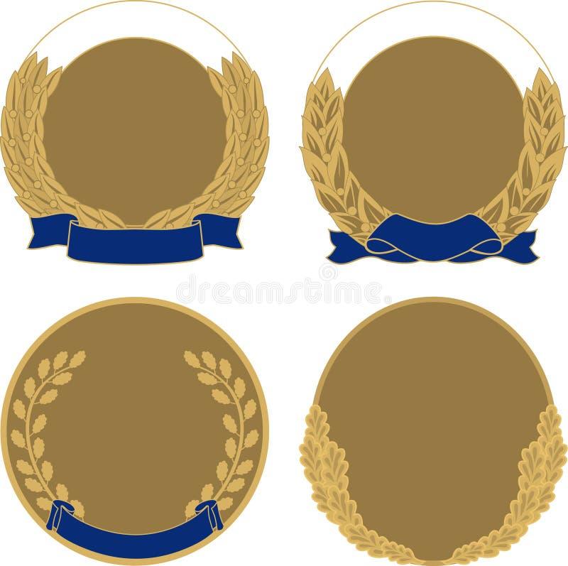 Ställ in av fyra medaljer vektor illustrationer