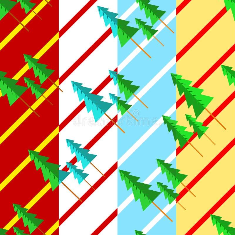 Ställ in av fyra modeller med träd och julmotiv stock illustrationer