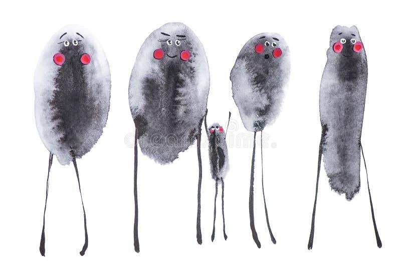 Ställ in av fyra monokromma vuxna fågelfläckar, och en behandla som ett barn fågeln Komiska fåglar med röda kinder Vattenfärgillu stock illustrationer