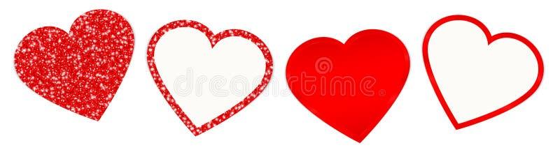 Ställ in av fyra röda hjärtor som mousserar och skiner royaltyfri illustrationer