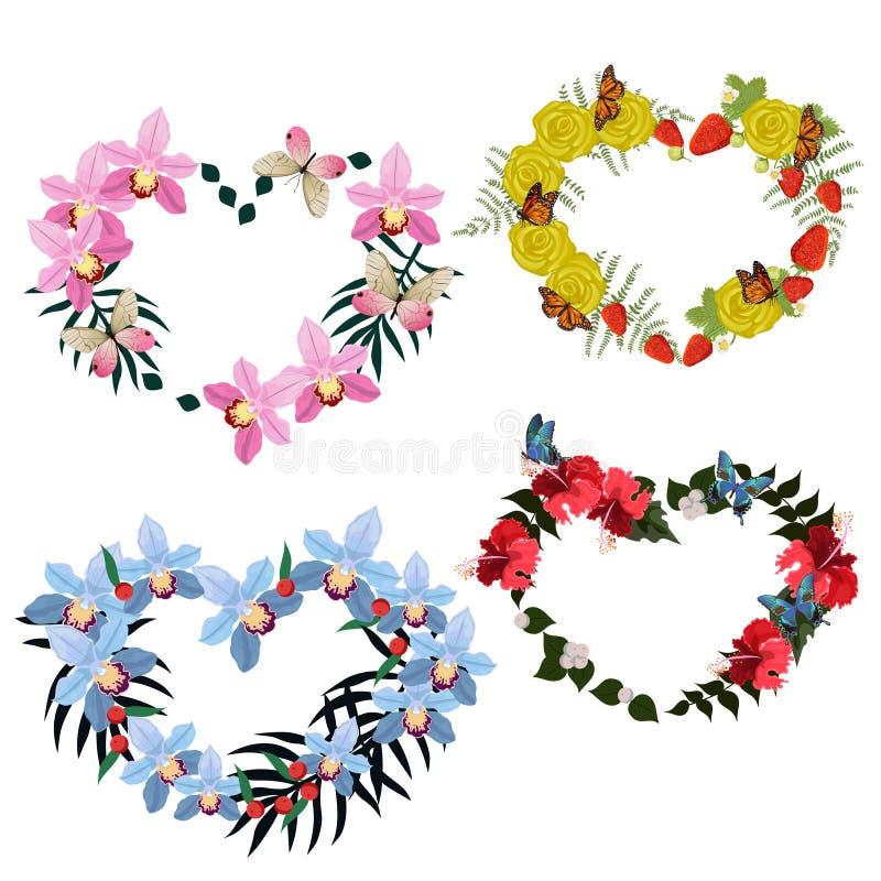 Ställ in av fyra ramar av blommor och fjärilar i form av en hjärta Vektormallsamling som isoleras på vit bakgrund royaltyfri illustrationer