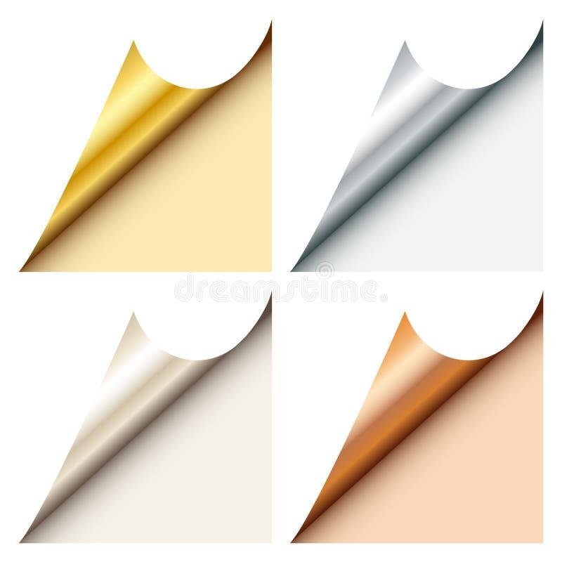 Ställ in av fyra rengöringsdukhörn metade guld försilvrar Platin brons nedanför rätt vektor illustrationer