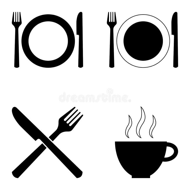 Ställ in av fyra symboler för kaféer och restauranger royaltyfri illustrationer