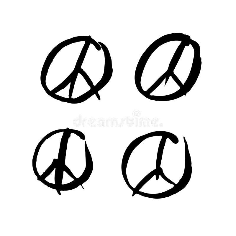 Ställ in av fyra vektorfredsymboler Underteckna pacifisten, fredsymbolet som dras av handen med en borste stock illustrationer