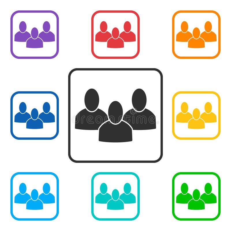 Ställ in av fyrkantiga symboler för grupp med 3 personer vektor illustrationer