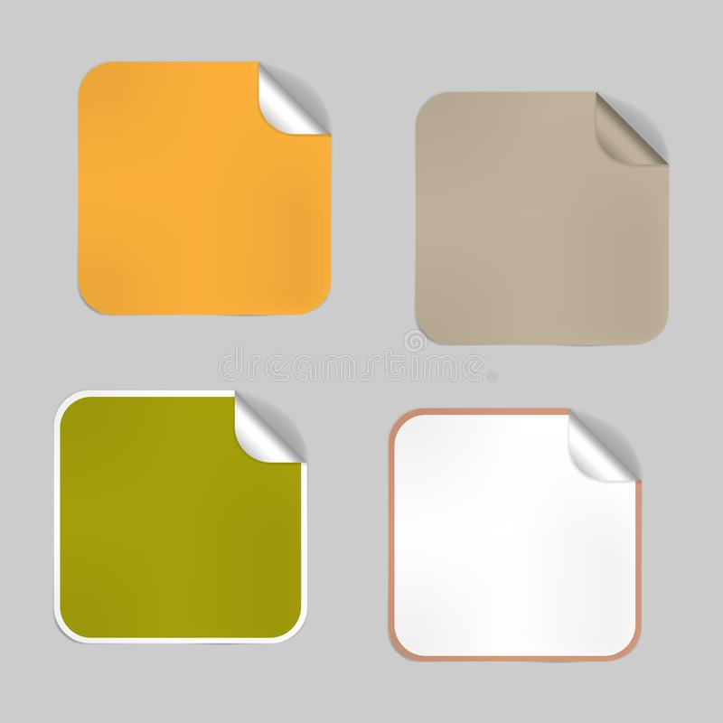 Ställ in av fyrkantiga tomma tomma klistermärkear med skalat av hörnet, modell Lock för aluminiumfolie, självhäftande etiketter k vektor illustrationer