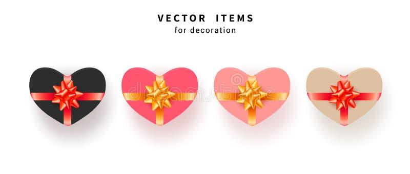 Ställ in av gåvaasken med guld- pilbågar och band Samlingen av den rosa hjärta formade gåvan framlägger isolerat på vit bakgrund stock illustrationer