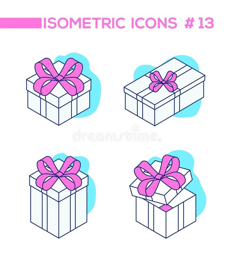 Ställ in av gåvor - linjen isometriska objekt för designstil royaltyfri illustrationer