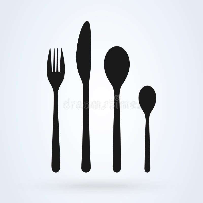 Ställ in av gaffel, kniven och skeden på vit Vektorsymbolsillustration royaltyfri illustrationer