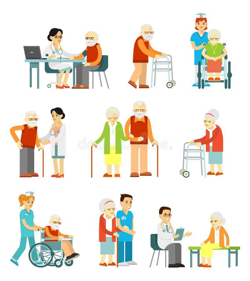 Ställ in av gamla människor i olikt läge royaltyfri illustrationer