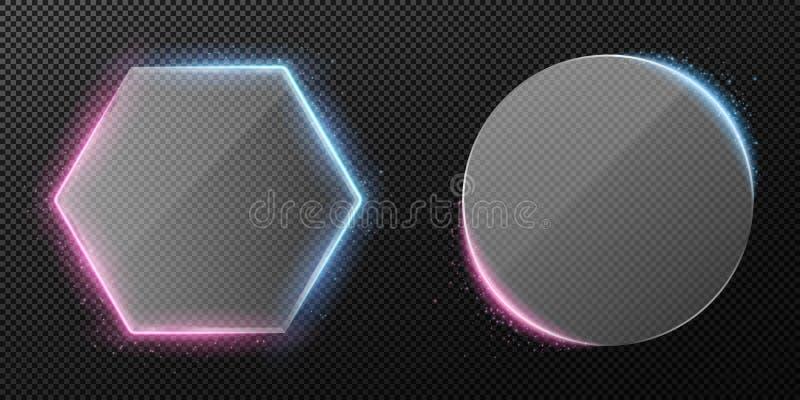 Ställ in av genomskinligt klart exponeringsglas som isoleras på genomskinlig bakgrund Lilor och blått neonpanelljus Flyga den glö stock illustrationer