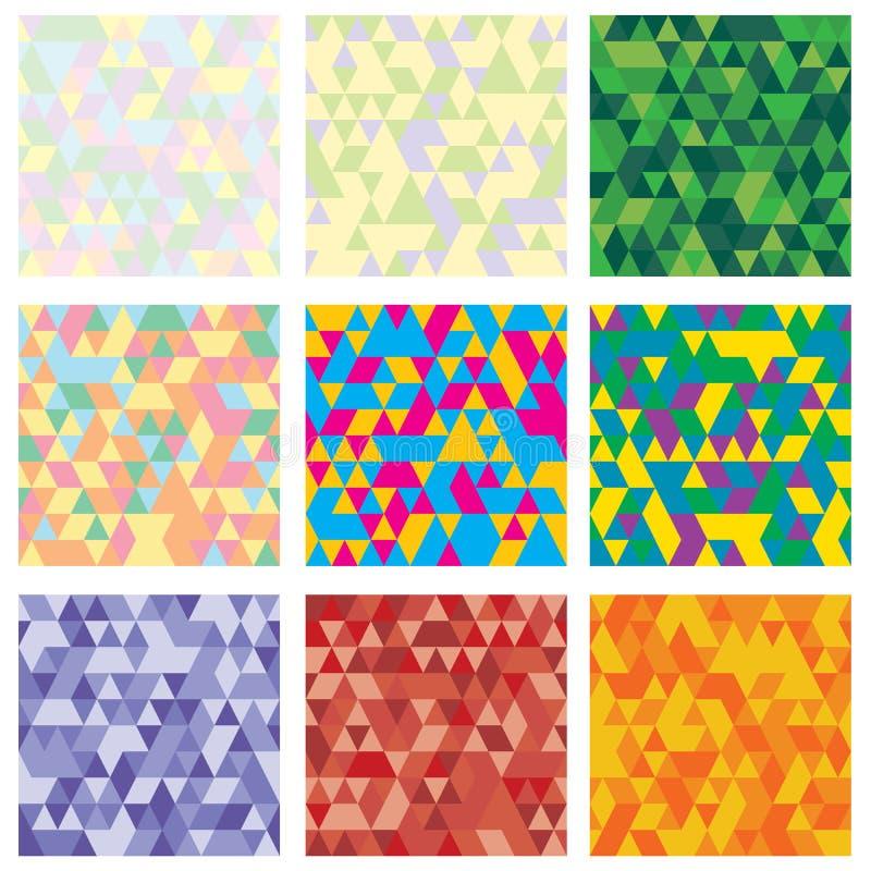 Ställ in av geometrisk modell 9 mosaik Textur med trianglar, romb Abstrakt bakgrund att användas för tapet vektor illustrationer