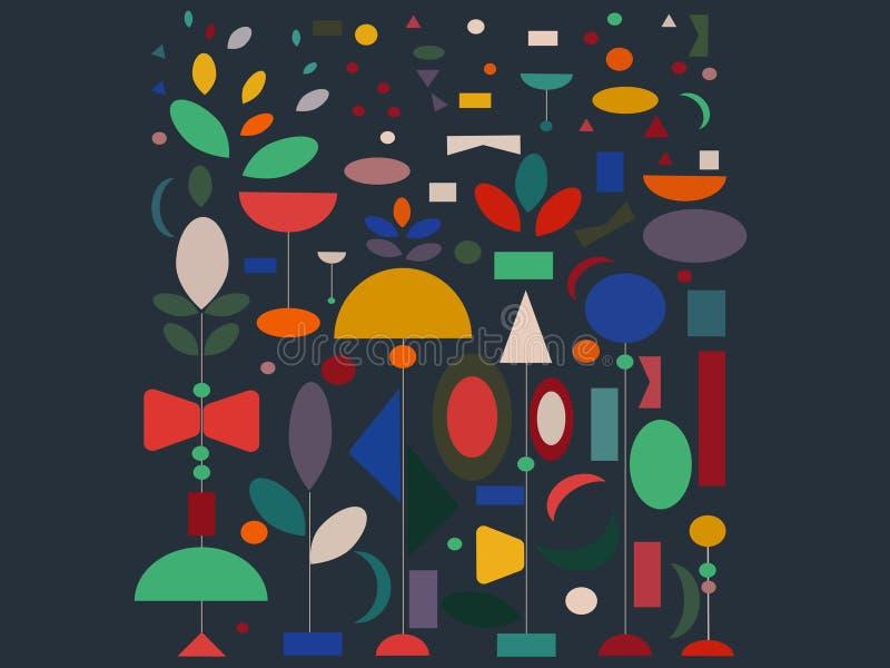 Ställ in av geometriska former på en härlig bakgrund royaltyfri illustrationer